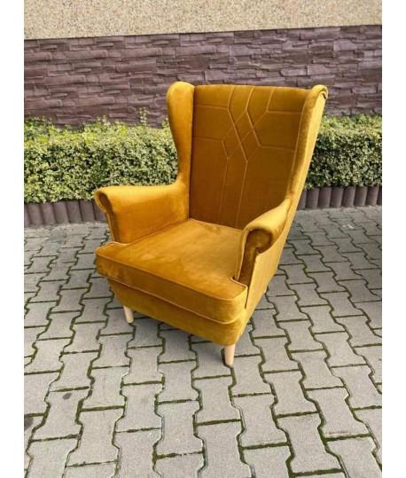 Fotel uszak z przeszyciami, bez guzików