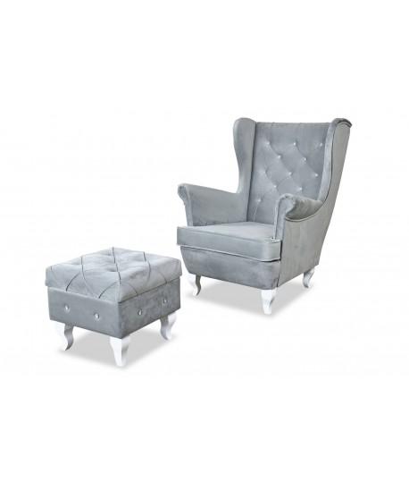 Fotel uszak z dużymi przeszyciami + podnóżek